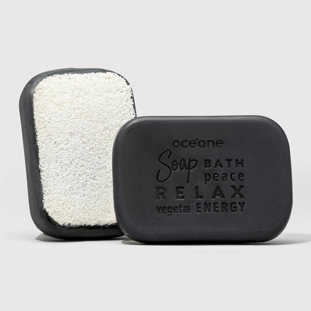 Sabonete Vegetal de Carvão C/ Esponja 2 em 1 - Charcoal Soap Sponge 120g