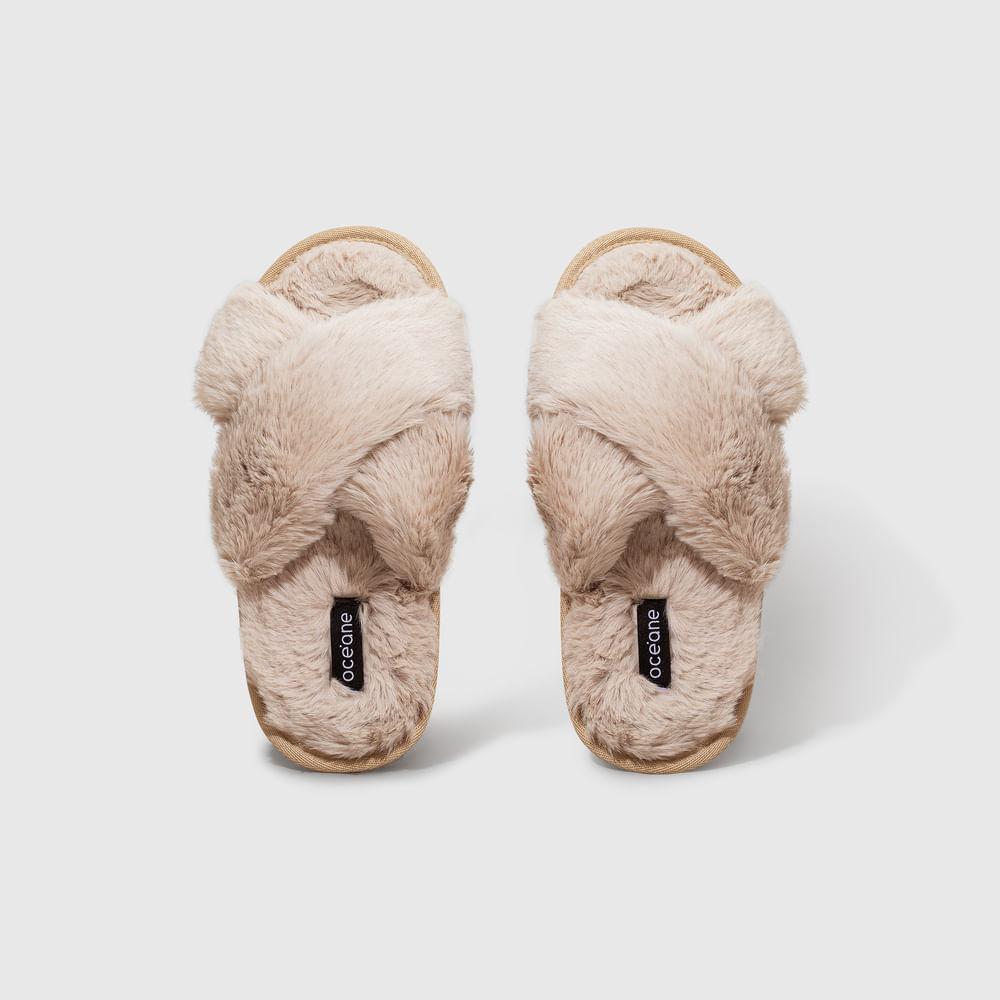 Pantufa Bege - Slippers Tamanho M