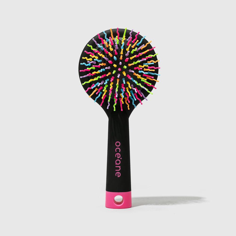 Escova de Cabelo Redonda Almofadada Colorida - Rainbow Brush