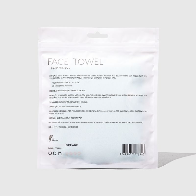 embalagem Toalha Para Rosto Face Towel fechada verso