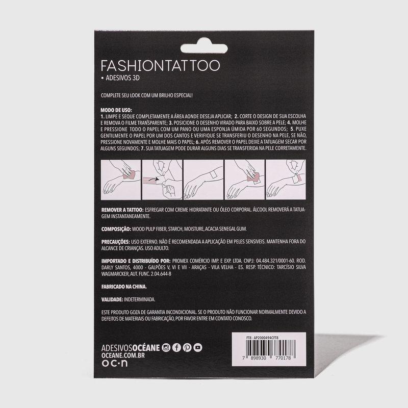 Tatuagem Temporária penas Fashion Tattoo Ft9 embalagem fechada verso