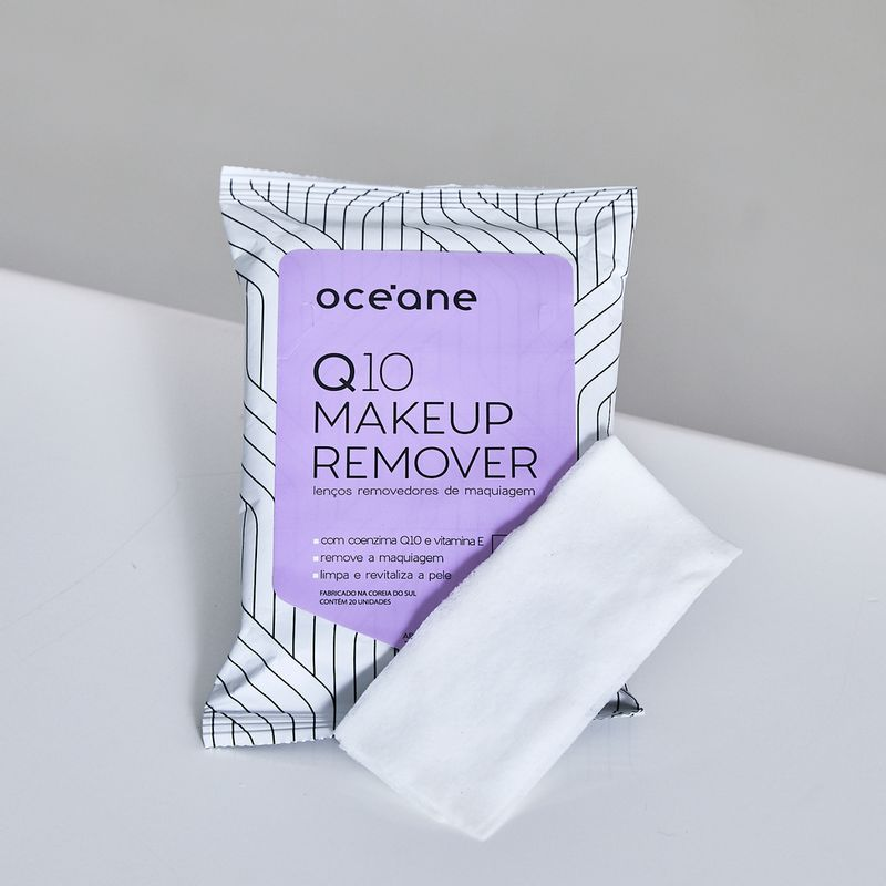 Lenços Demaquilantes C/ Q10 e Vitamina e  Q10 Makeup Remover 20un mostrando o lenço frente
