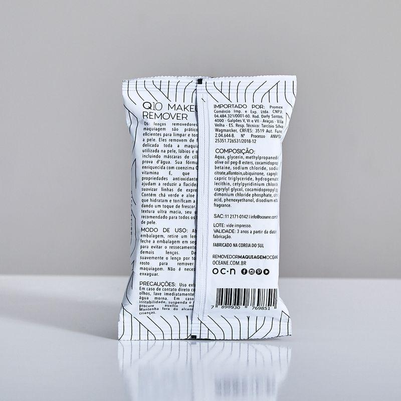 Lenços Demaquilantes C/ Q10 e Vitamina e  Q10 Makeup Remover 20un verso