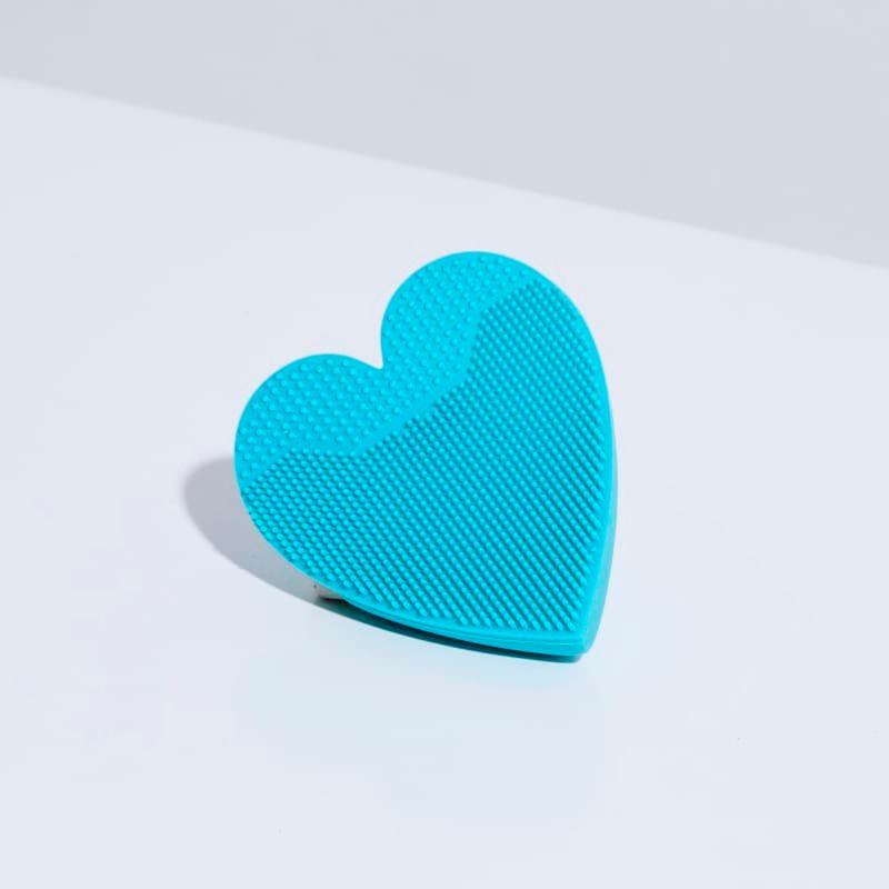 Esponja de Silicone Para Limpeza Azul Facial Heart Sponge aberto verso