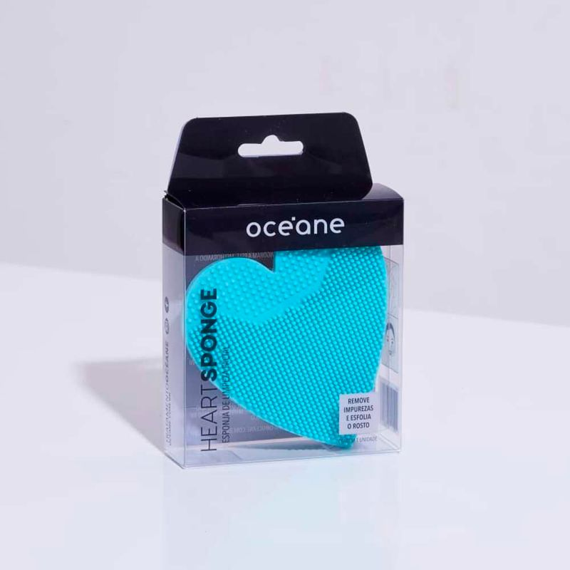 embalagem Esponja de Silicone Para Limpeza Azul Facial Heart Sponge fechada frente