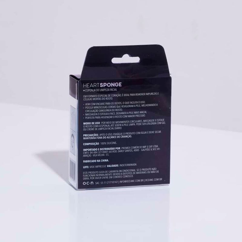 embalagem Esponja de Silicone Para Limpeza Azul Facial Heart Sponge fechada verso
