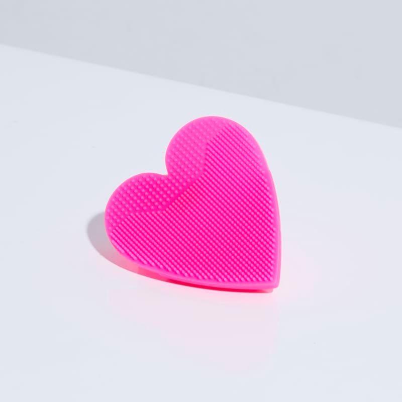Esponja de Silicone Para Limpeza Rosa Facial Heart Sponge aberto verso