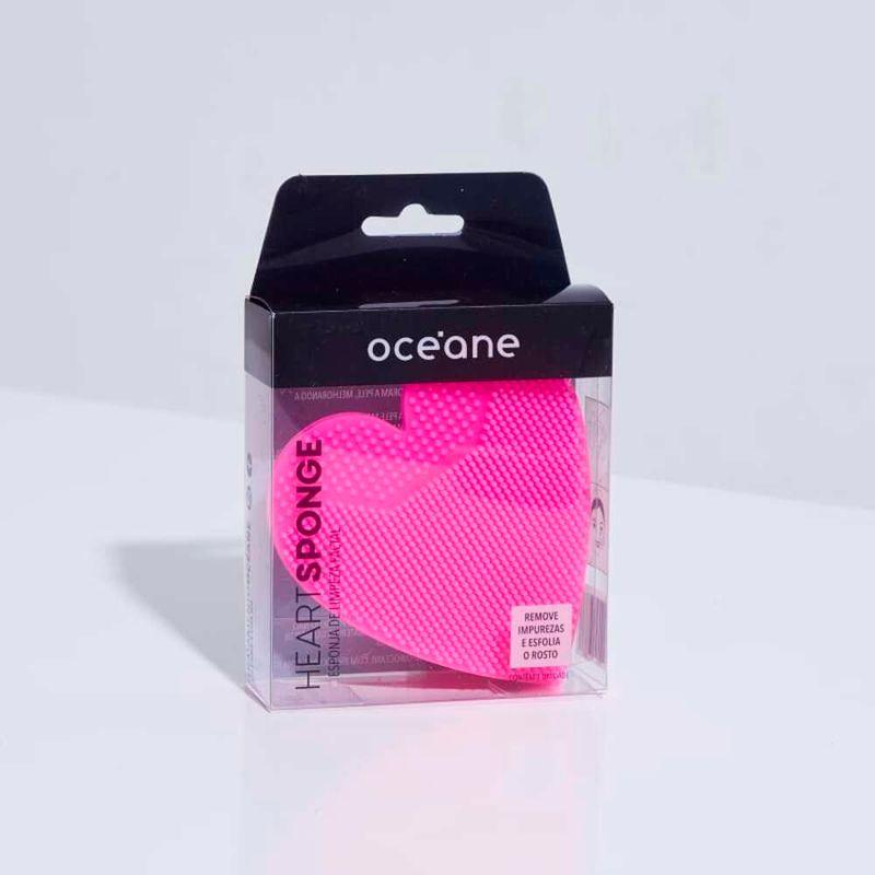 embalagem Esponja de Silicone Para Limpeza Rosa Facial Heart Sponge fechada frente