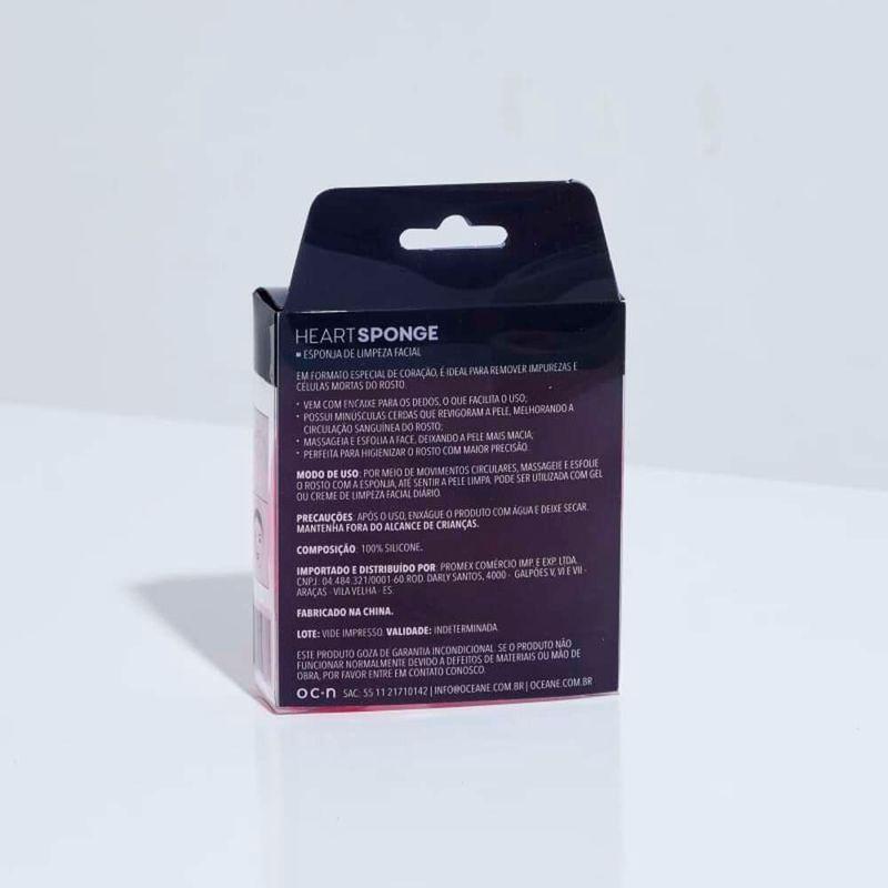 embalagem Esponja de Silicone Para Limpeza Rosa Facial Heart Sponge fechada verso