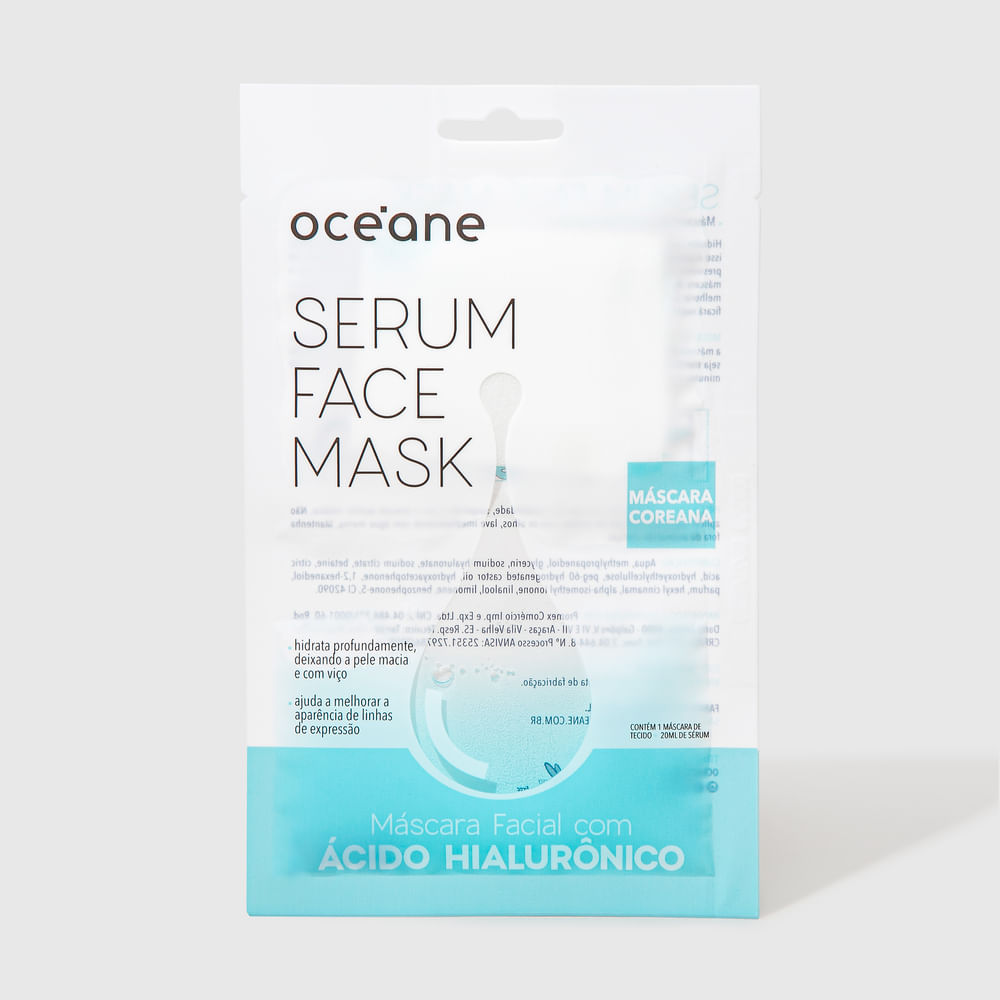 Máscara Facial C/ Ácido Hialurônico - Serum Face Mask 20ml