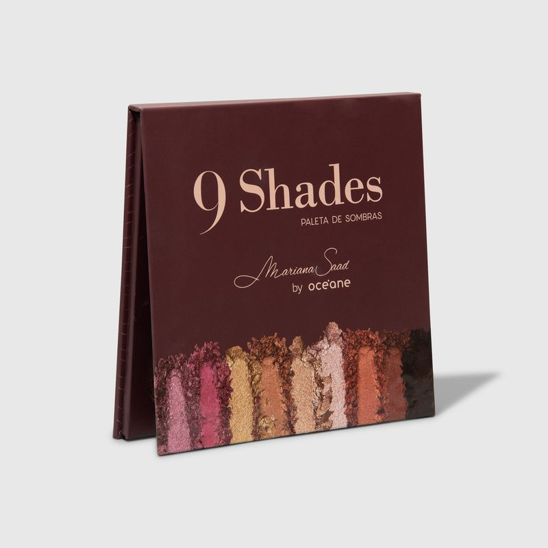 paleta de sombras mariana saad by oceane 9 shades fechada de lado