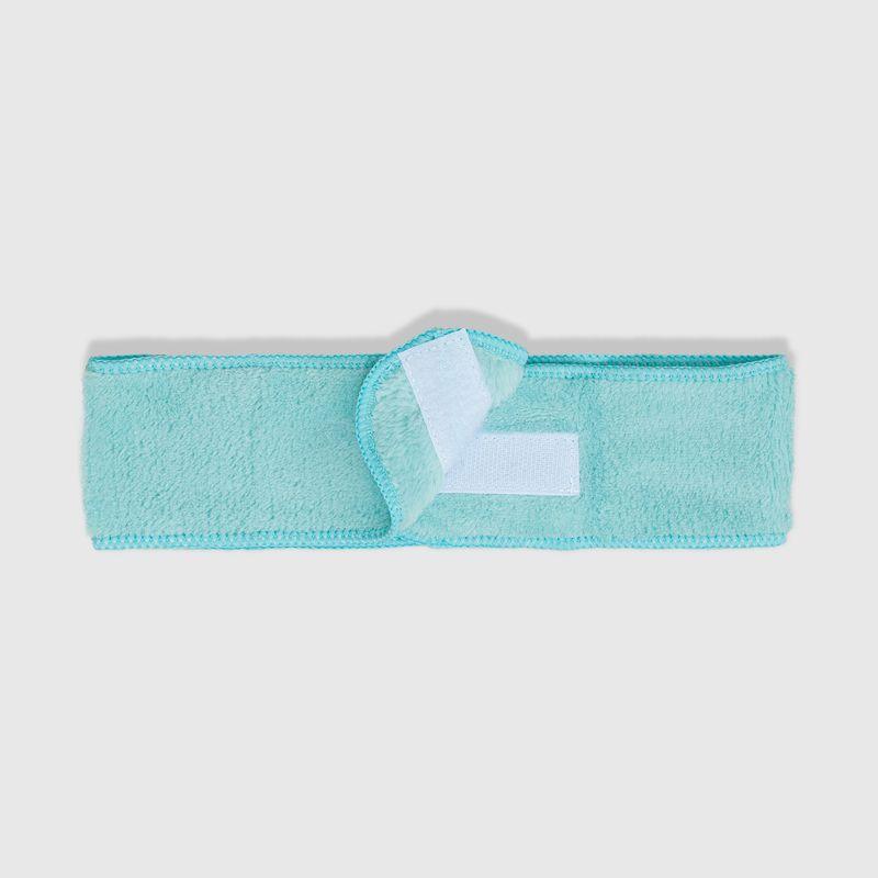 Faixa de Cabelo Azul Headband aberta verso detalhe do fecho