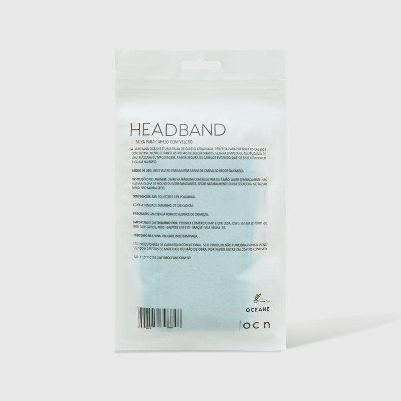 Embalagem Faixa de Cabelo Azul Headband fechada verso