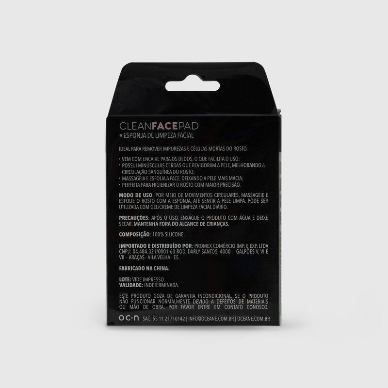 embalagem Esponja de Silicone Para Limpeza Facial Cinza Clean Face Pad fechada verso