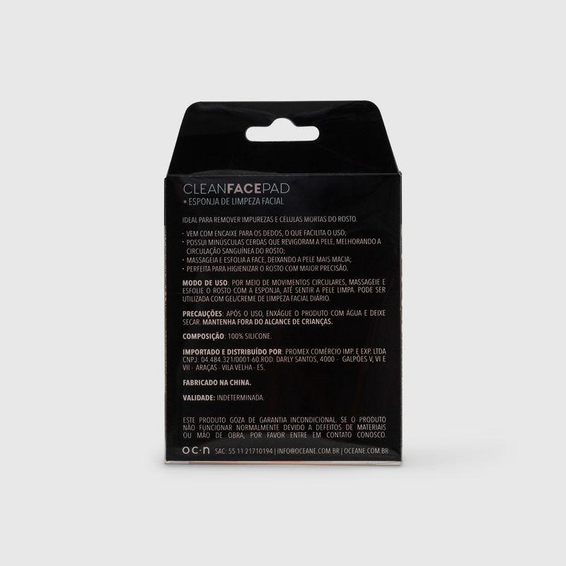 embalagem Esponja de Silicone Para Limpeza Facial Rosa Clean Face Pad fechada verso