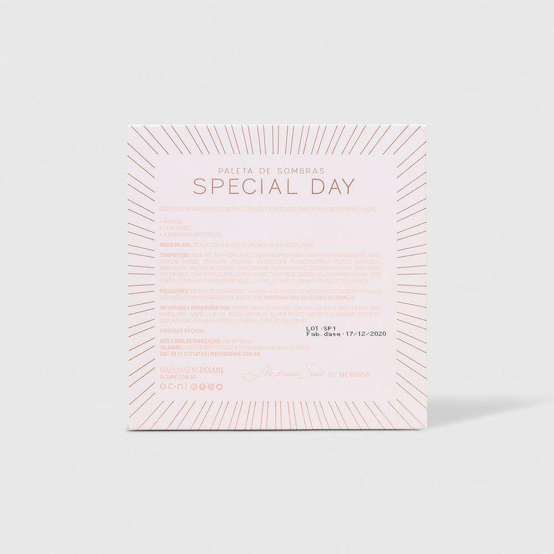 Paleta de Sombras Mariana Saad by Océane Special Day fechada verso