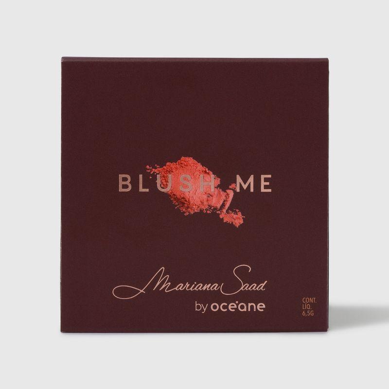 Blush em pó compacto blush me cherry mariana saad by océane na cor vermelho, embalagem fechada frente