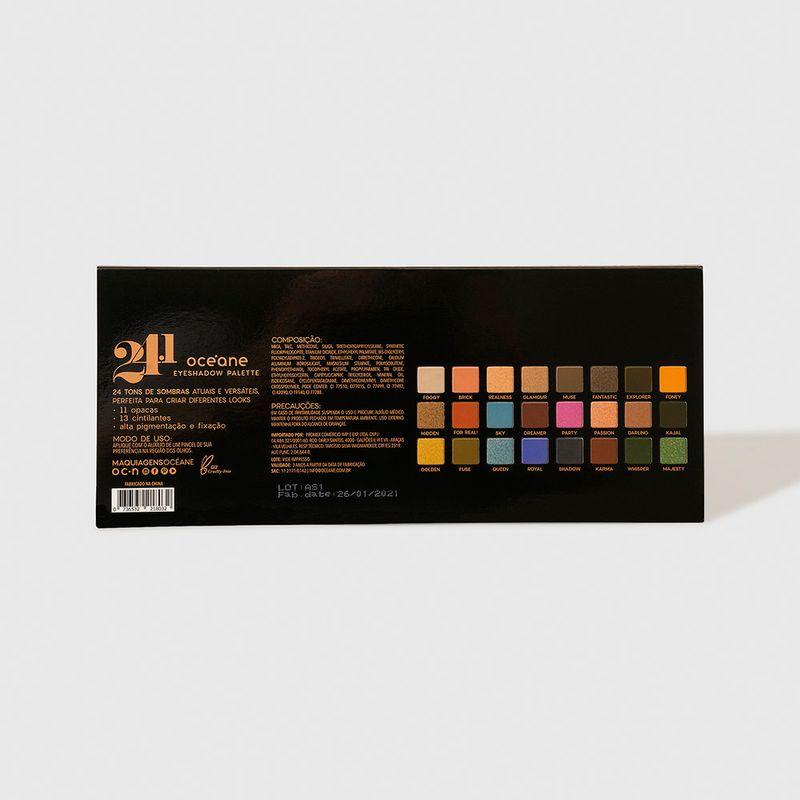 Paleta de Sombras 24.1 Cores 24.1 Eyeshadow Pallete embalagem fechada verso