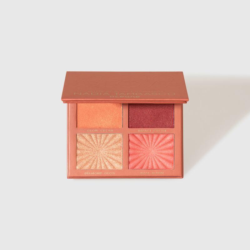 Paleta de Blush e Iluminador Nádia Tambasco  by Océane Face To Glow aberta frente