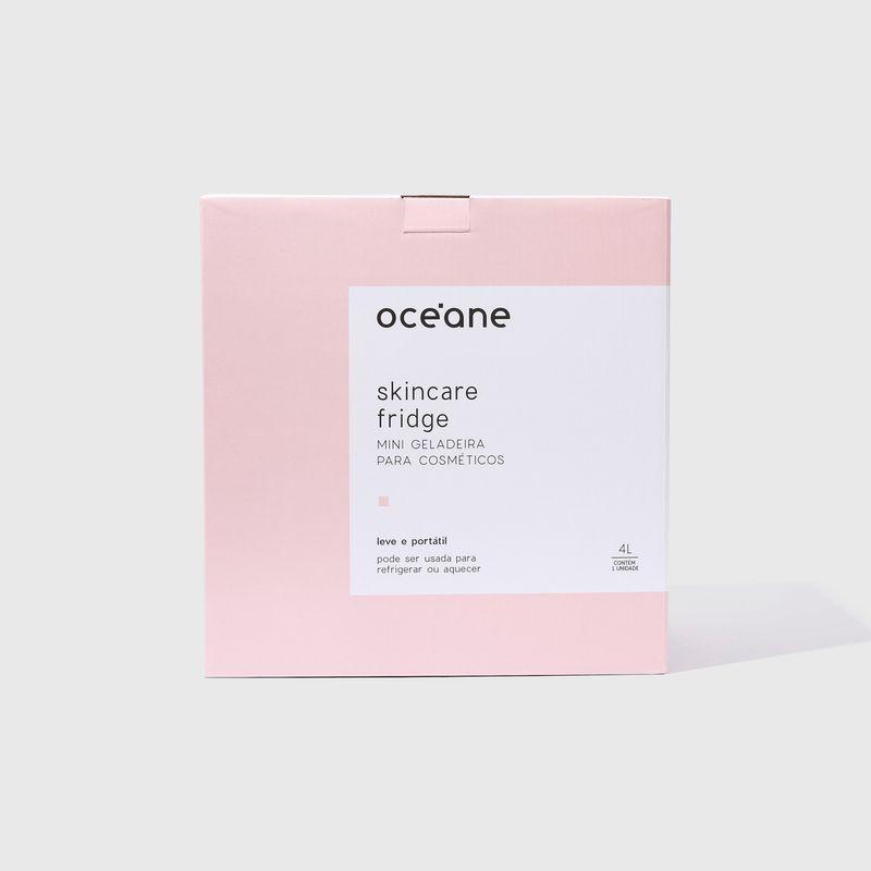 embalagem Mini Geladeira Rosa Skincare Fridge 4l  fechada frente