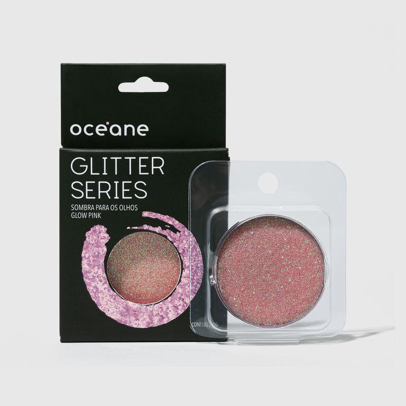 Sombra unitária Para Olhos Glitter Series Glow Pink  embalagem fechada e aberta ao lado direito frente
