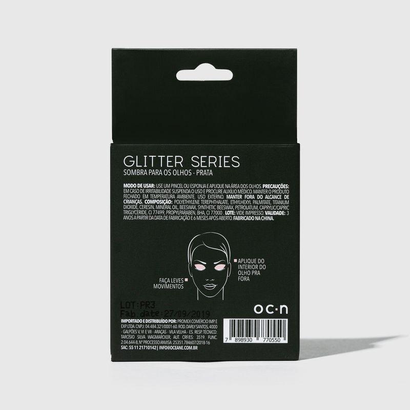 Sombra unitaria Para Olhos Glitter Series Prata embalagem fechada  verso