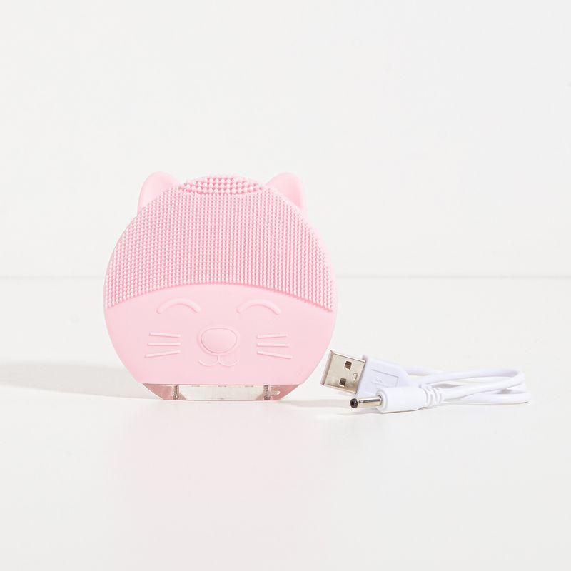 Aparelho de Limpeza Facial Elétrico Rosa Cat Cleaner aberto frente com cabo para carregar ao lado direito