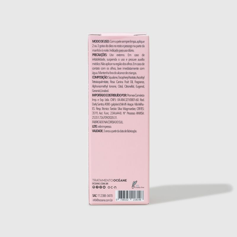 embalagem fechada verso Óleo Facial de Esqualano e Tetraisopalmitato de Ascorbila - Squalane + Ascorbil Tetraisopalmitate Oil 30ml