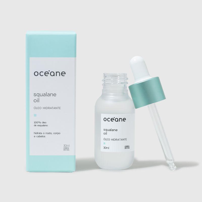 embalagem do produto fechada ao lado esquerdo e Óleo Hidratante de Esqualano Squalane Oil 30ml   embalagem aberta frente, tampa ao lado direito
