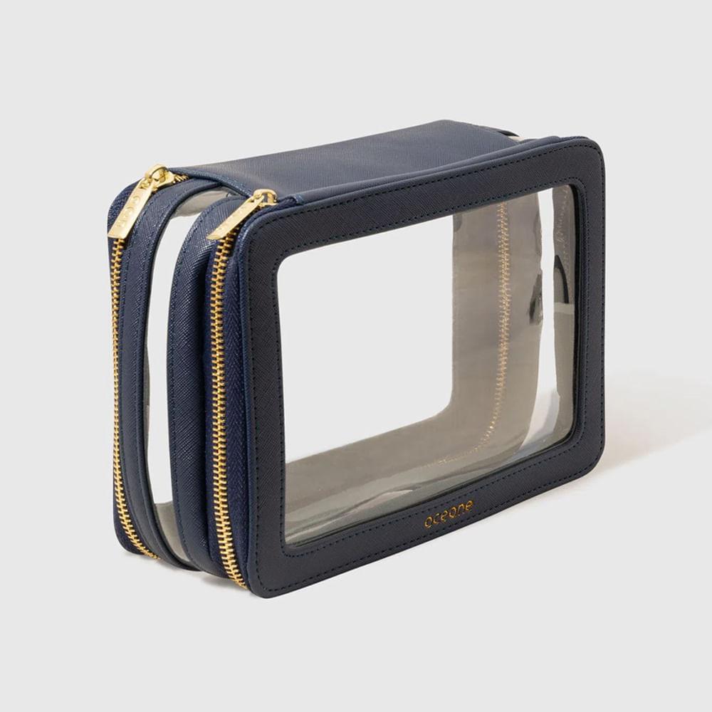 Nécessaire Azul Marinho C/ Transparência - Double Crystal Case