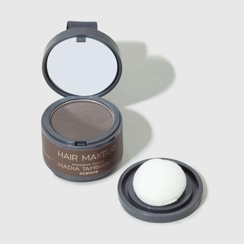 Maquiagem Capilar Castanho escuro Hair Makeup Nádia Tambasco 4g tampa aberta frente e esponja ao lado direito