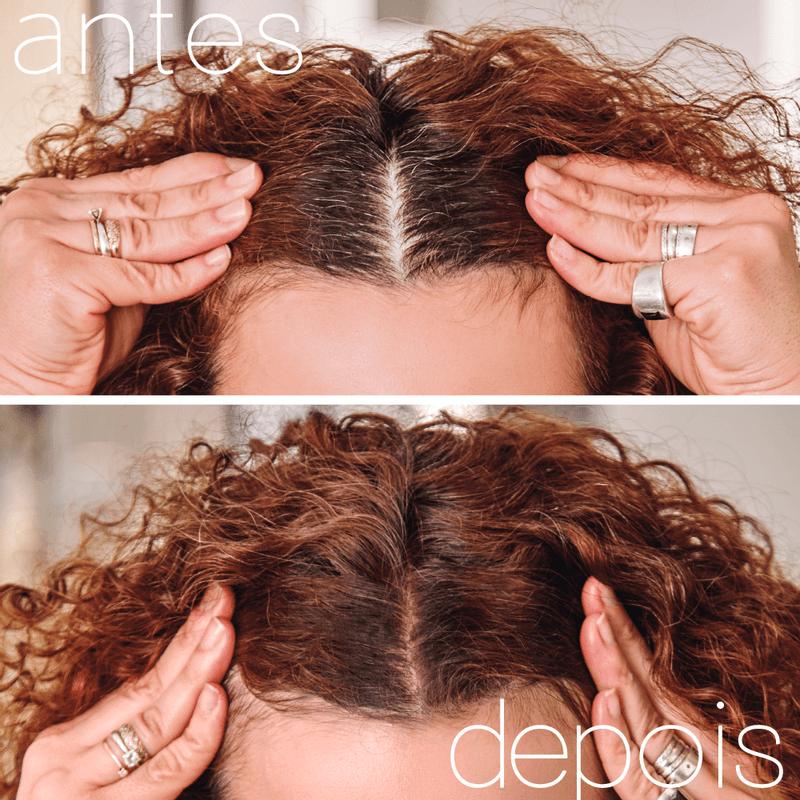 Antes e depois modelo usando Maquiagem Capilar Castanho escuro Hair Makeup Nádia Tambasco 4g