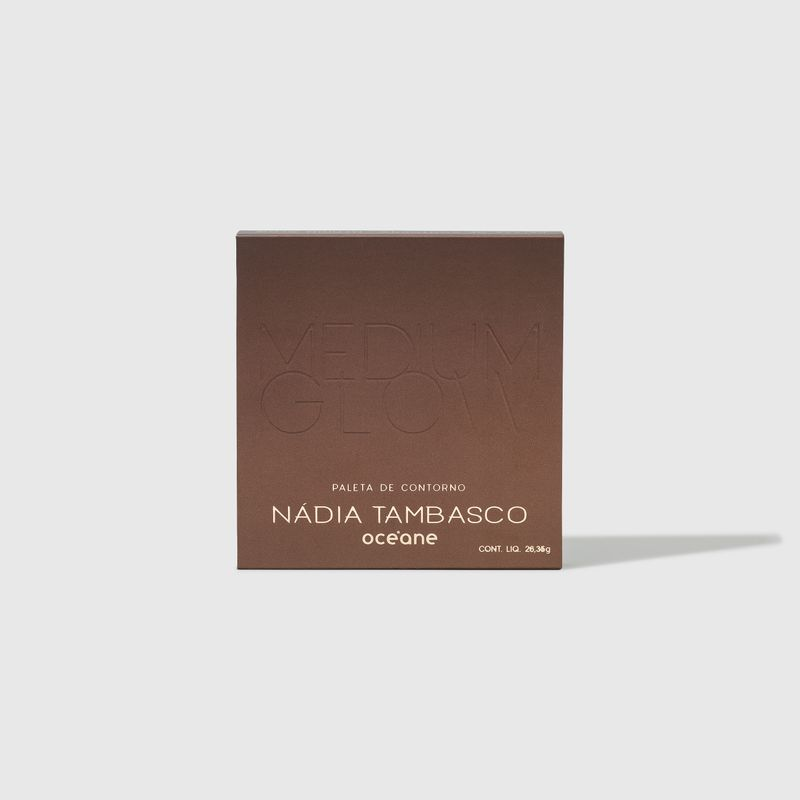 Paleta de Contorno Medium Glow Nádia Tambasco Océane, frente da caixa embalagem da paleta de contorno