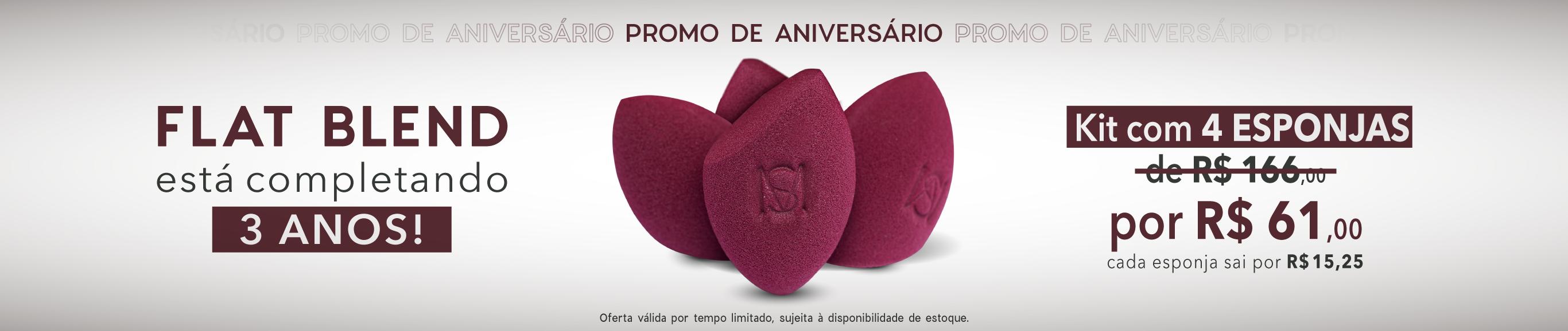 banner promoção aniversário flat blend com  três esponjas de maquiagem flat blend marsala mariana saad by océane