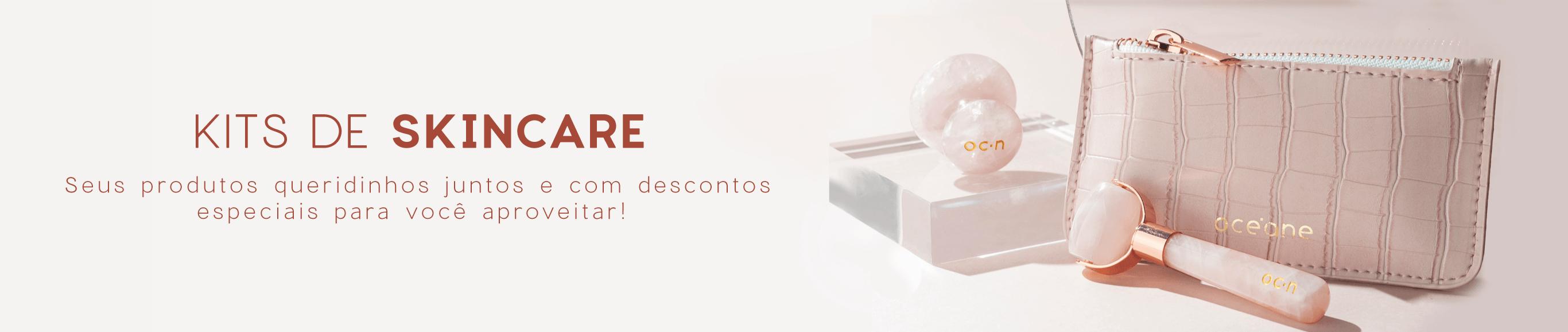 Banner categoria kits, a imagem mostra um mini massageador facial de quartzo mini roller e um massageador para olhos de quartzo