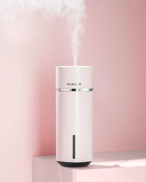 Banner ambiente umidificador Océane, a foto mostra um umidificador de ar rosa cup humidifier.
